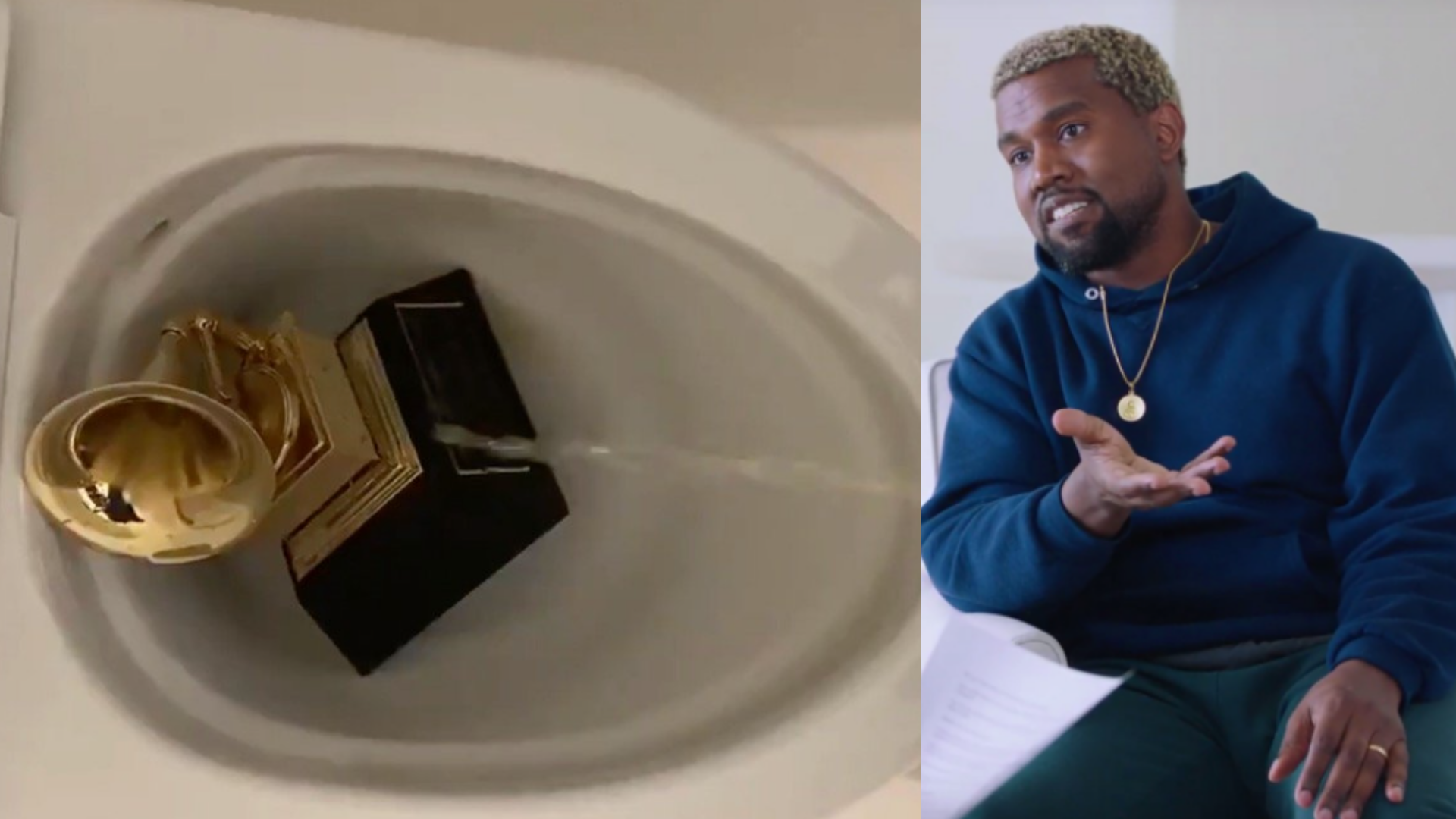 Social Media Reacts to Kanye West Peeing on Grammy Award